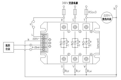 模块应用于三相四线制电路接线图