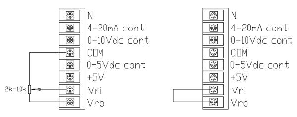 1、各控制功能端子排列如左图,若需限幅,可接入2k-10k的电位器,其中心端接到调整器Vri端。若不需限幅,则直接将调整器Vri端与Vro端短接。  2、独特的全兼容输入控制模式, 0-5Vdc、0-10Vdc、4-20mA、1-5Vdc、0-10mA等自动方式均能适应,无须专门特别订制,也可用电位器手动控制。输入调节范围宽,输出调节精度高,抗干扰能力强。 3、当使用0-5Vdc输入控制时,0-10Vdc和4-20mA输入端必须接地。当使用0-10Vdc输入控制时,4-20mA输入端必须接地。当使用4-2