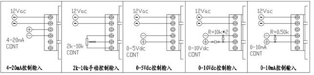 、电位器手动控制方式:按图示,电位器中间端接到模块cont端,电位器另两端分别接到模块com端和+5V端。当控制端cont从0-5Vdc改变时,交流负载上的电压从0伏到最大值线性可调,cont端电压越高,模块输出越大。+5V电压由模块本身内部产生,无须外部提供,只配合手控电位器用,不作它用,所选用的电位器阻值在2-10KΩ之间。采用此方式时'4-20mA'端悬空。