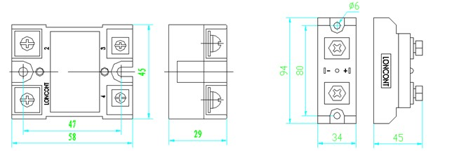 单相交流固态继电器  概述 龙科交流固态继电器(英文名称为Loncont Solid-State Relay,简称LSR)。它为单刀单掷常开式结构, 用LED显示工作状态。它是用现代微电子技术与电力电子技术发展起来的一种新型无触点开关器件。它可以实现用微弱的控制信号(几毫安到几十毫安)控制0.1A直至几百A电流负载,进行无触点接通或分断。它为四端有源器件,两个输入控制端,两个负载输出端,输出端与负载、电源串联,输入输出之间为光电隔离,内置RC吸收回路,输入端加上直流或脉冲信号,输出端就能从断态转变成通态。