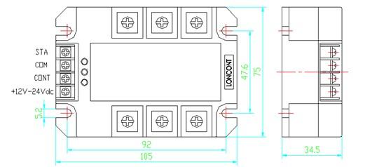 缺相保护型三相固态继电器  概述 LSR-TQ 系列缺相保护型三相交流固态继电器,是在普通三相固态继电器的基础上增加了缺相保护电路,并且有超温保护和欠压保护功能,可有效地保证三相交流电机等三相负载的安全。继电器采用进口大规模集成电路,输入输出光电隔离,内置RC吸收回路,双色LED显示正常或缺相两种状态。继电器无须接入零线(N线),适用于感性负载或阻性负载,Δ形或Y形接法均可。 当三相电源发生缺相(缺一相或二相)或断相,继电器会迅速切断输出,关闭工作,进入自锁状态,直至切断输入控制电源,重新加控